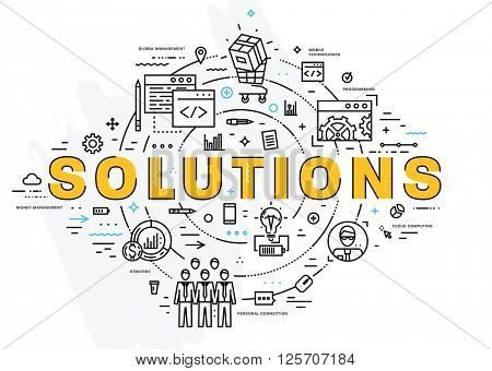 Flat Style, Thin Line Art Design. Set of application development, web site coding, information and mobile technologies vector icons and elements. Modern concept vectors collection. Solutions Concept