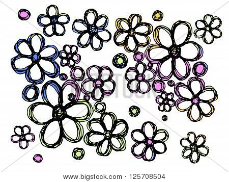 Flowers vector illustration. Isolated on white background. Hand drawn stock illustration. Floral background pattern