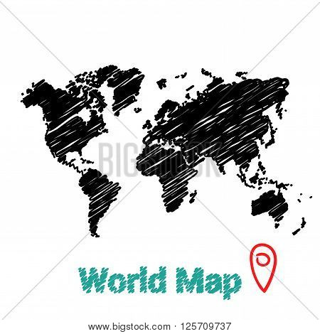 Vector map of the world drawing in black marker on a white background. Sketch World Map for infographics, brochures and presentations.