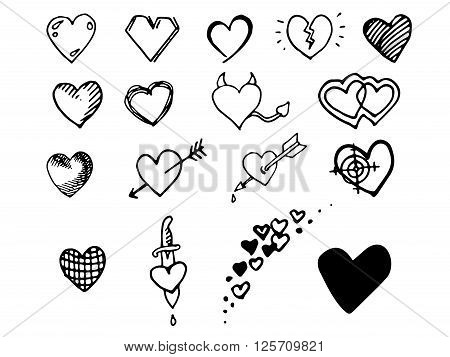 Hearts set icons. Hand drawn vector stock illustration