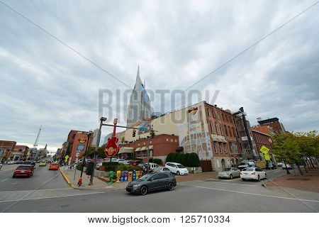 NASHVILLE,TN,USA - SEP 27: AT&T Building and historical Broadway on Sep. 27, 2015 in downtown Nashville, Tennessee, USA. Lower Broadway is famous for entertainment district of country music.