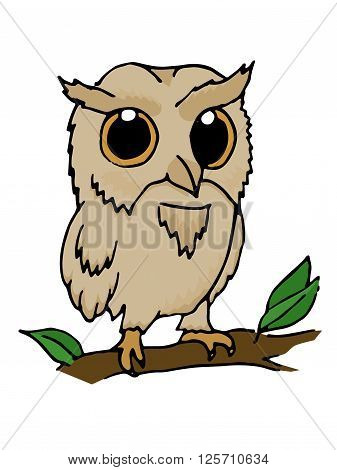 Owl hand drawn vector stock illustration. Isolated on white