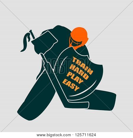 Vector illustration of ice hockey goalie with knight shield. Train hard play easy motto. Sport metaphor. Sport relative quote