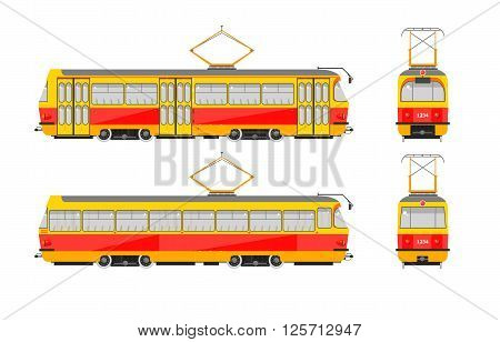 Set stock vector illustration isolated yellow tram front, side, back view flat style white background Element for site, infographic, video, animation, website, e-mail, newsletter, reports, comic, icon