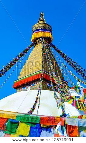 Boudhanath Stupa in the Kathmandu valley Nepal.