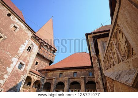 HUNEDOARA, ROMANIA - AUGUST 13, 2015: medieval Corvin Castle in Hunedoara is built in Renaissance-Gothic style and it is one of the largest castles in Europe