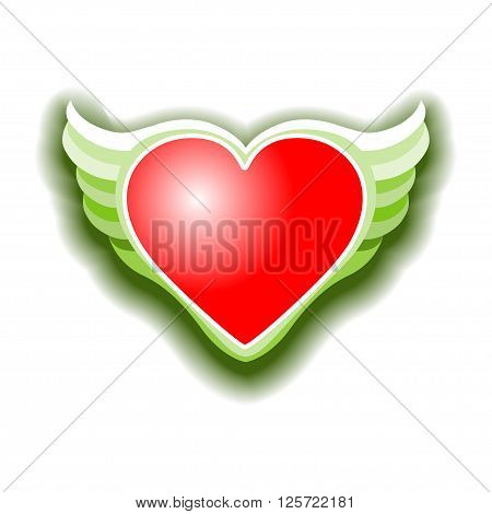 The Valentines day heart with wings Vektor