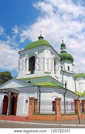 The Church of St. Nicholas Prytysk located on historical neighborhood of Podol in Kyiv, Ukraine