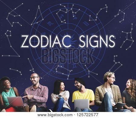 Zodiac Signs Astral Astrological Birth Calendar Concept