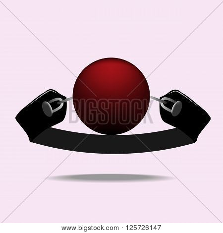 Red Silicone Ball Gag with a leather belt, vector illustration
