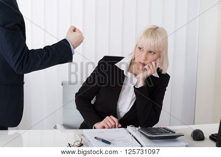 Boss Blaming Female Employee For Bad Results