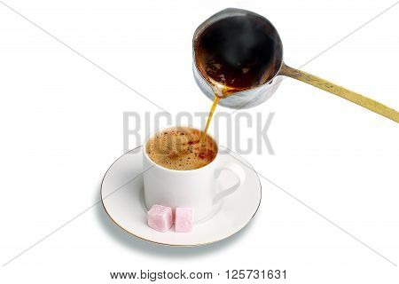 Turkish coffee is served hot with Turkish delight.