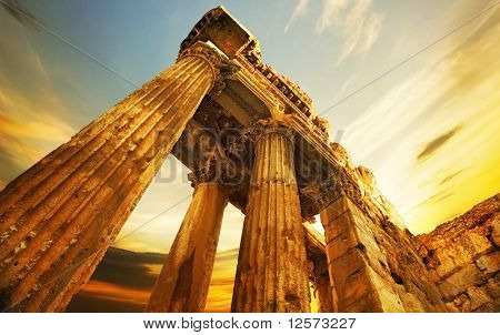 Old Ruins.Roman Columns in Baalbeck, Lebanon