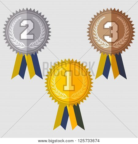 Set of signs medal first second and third place golden silver and bronze medals with laurels wreath and green ribbon flat design medal icon vector