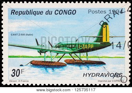 MOSCOW RUSSIA - APRIL 12 2016: A stamp printed in Congo shows Italian hydroplane CANT Z.505 series