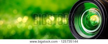 Camera lens with lense reflections - stock image