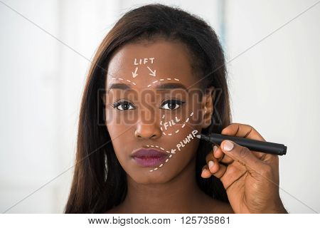 Person's Hand Drawing Correction Line On Woman's Face