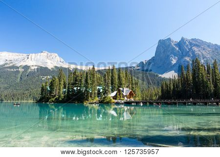 Emerald Lake is located in Yoho National Park, British Columbia, Canada. It is the largest of Yoho's 61 lakes and ponds, as well as one of the park's premier tourist attractions. poster