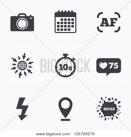 Calendar, like counter and go to web icons. Photo camera icon. Flash light and autofocus AF symbols. Stopwatch timer 10 seconds sign. Location pointer.