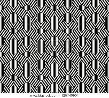 Modern Stylish Monochrome Background With Structure Of Repeated Hexagons - Vector Seamless Pattern