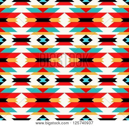 Traditional Mexican Colorful Fabric Ornament - Vector Seamless Pattern