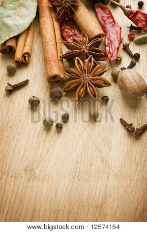 Spices border.With copy space