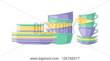 Clean dishes empty dishware kitchen utensil cooking tableware flat vector illustration.