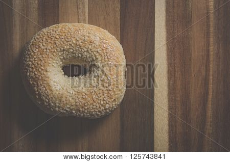 Image from above of a sesame seed bagel