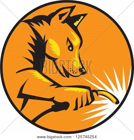 Illustration of a dingo dog welder with welding torch welding viewed from the side set inside circle done in retro style. poster