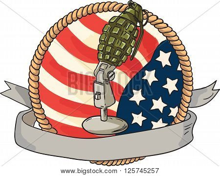 Illustration of a world war two grenade mounted on a vintage microphone stand with USA stars and stripes flag in the background with ribbon scroll banner in front set inside rope circle done in retro style.