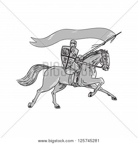 Illustration of knight horseback in full armor holding lance shield and flag riding horse viewed from the side on isolated white background done in retro style.