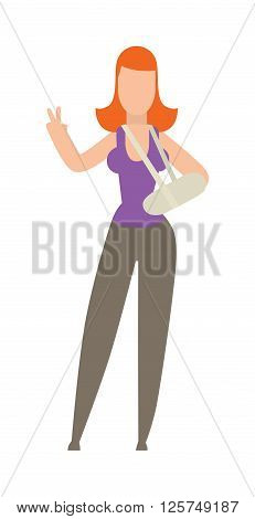 Cast on an broken foot of woman hard pain medical accident character vector illustration. Girl with broken bone and patient broken legs. Character with broken bone emergency people injured treatment.