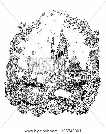 Undersea world with starfish, fish, octopus, squid, sea horse, castle. Undersea world - adult coloring page. Hand drawn Undersea world. Vector illustration.