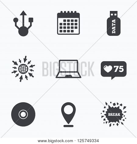 Calendar, like counter and go to web icons. Usb flash drive icons. Notebook or Laptop pc symbols. CD or DVD sign. Compact disc. Location pointer.