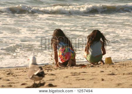 Children Surveying The Ocean