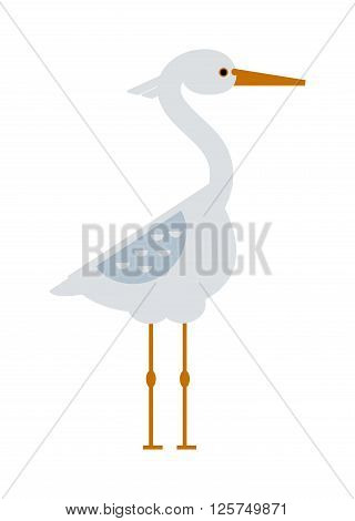Stork lovely bird, crane grus and bird stork white crane flying cartoon animal. Announcement nature little grus. Stork standing and flying sarus crane grus cartoon cute animal lovely bird vector.