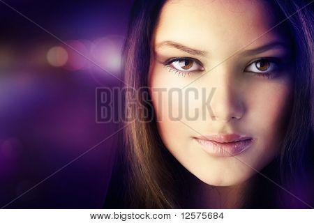 Beautiful Disco Girl Face.Perfect Skin