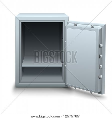 Empty bank safe for money keeping with open metallic door vector illustration. Isolated on white background. Business icon concept. Metal box