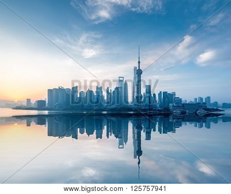 shanghai skyline with reflection in sunrise China