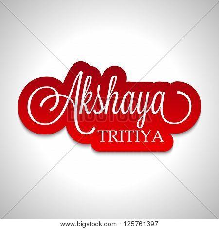 illustration of a stylish text for Akshaya Tritiya with kalash.