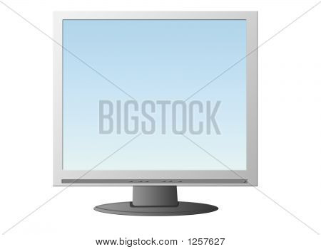Isolated Lcd Monitor With Blue Image