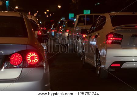 traffic jam on road in the city