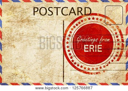 greetings from erie, stamped on a postcard
