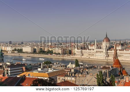 The view of the Parliament Building and the river Danube as seen from the Fishermen's Bastion in the Buda Castle district in Budapest Hungary.