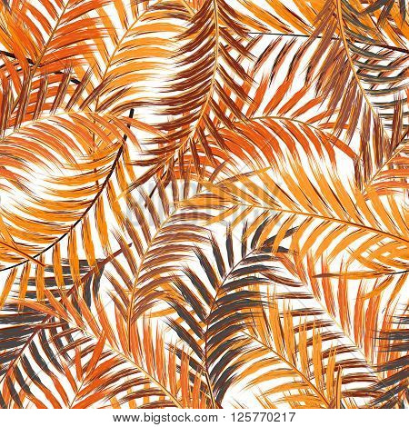 Leaves of palm tree. Seamless pattern. Palm leaf in orange brown on white background. Tropical trees leaves.