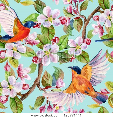 Apple blossom and flying birds. Watercolor bird on spring branch with leaves and blooming flowers. Hand painted illustration on blue sky background