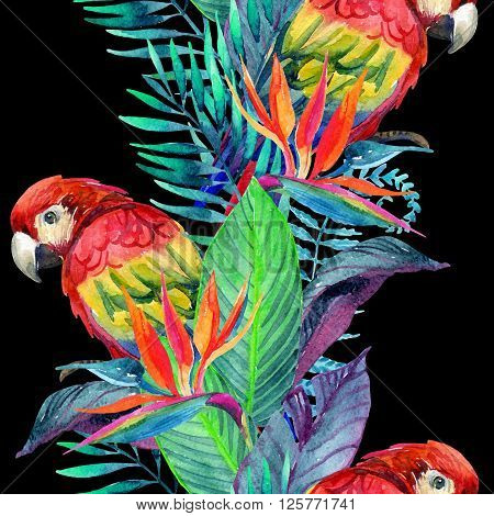 watercolor parrots with tropical flowers seamless pattern. Exotic background. Hand painted illustration of parrots in natural colors on dark background