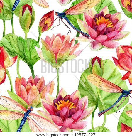 Watercolor pink water lily flower with dragonfly. Hand painted seamless pattern