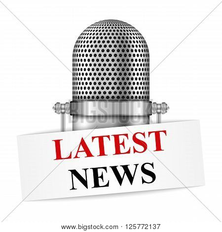 Microphone with latest news banner, vector eps10 illustration