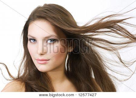 Hermosa chica con piel de Hair.Perfect largo